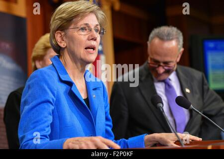 U.S. Senator Elizabeth Warren joins other democrats during a press conference calling for Republicans to support - Stock Photo
