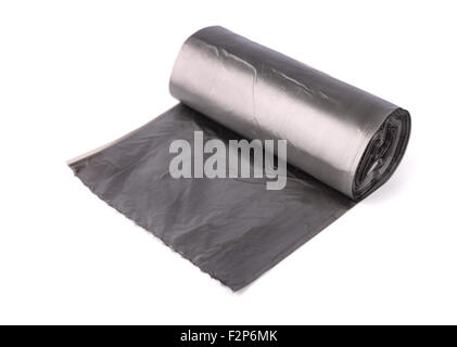 Roll of garbage bags isolated on white - Stock Photo