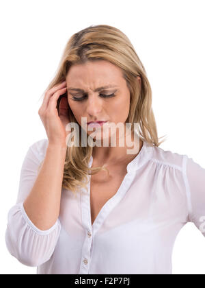 caucasian woman suffering headache - Stock Photo