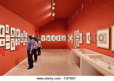 Visitors at Museu Nacional d'Art de Catalunya in Barcelona Spain Europe - Stock Photo