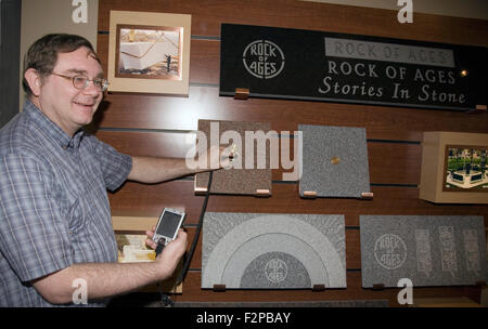 The Memory Medallion represents the latest development in memorialization at Rock of Ages granite quarry, Barre, - Stock Photo