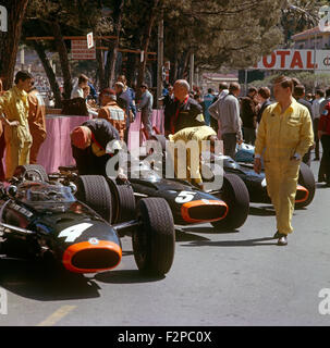 BRM racing cars in the pits at the Monaco GP 1965 - Stock Photo