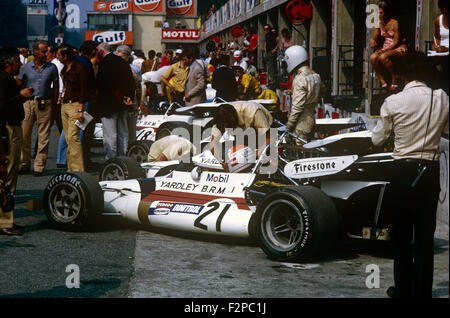 BRM racing cars in pit lane 1971 - Stock Photo