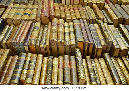 Old secondhand books displayed at bookshop in Barcelona Catalonia Spain Europe - Stock Photo