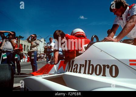 Niki Lauda in his McLaren - Stock Photo