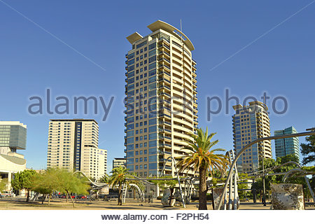 'Parc Diagonal Mar' and modern properties in Sant Marti district of Barcelona Spain Europe - Stock Photo
