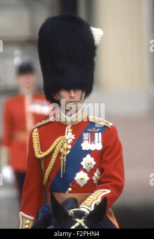 PRINCE CHARLES trooping the Colour in 1984 - Stock Photo