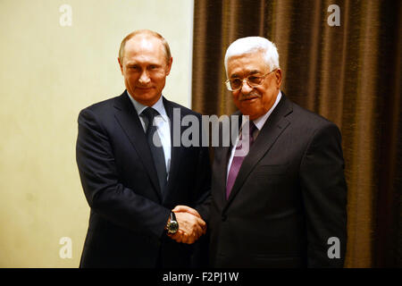 Moscow, Moscow, Russia. 22nd Sep, 2015. Russian President Vladimir Putin meets with his Palestinian counterpart - Stock Photo