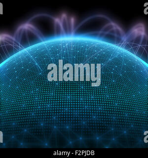 Digital planet with dots representing the binary code and world communication. - Stock Photo