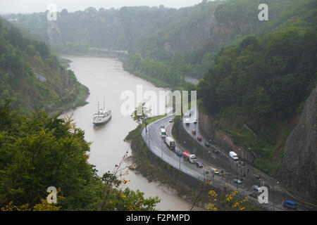 The historic ship MV Balmoral coming up the Avon Gorge towards Bristol England UK Seen from the Clifton suspension - Stock Photo