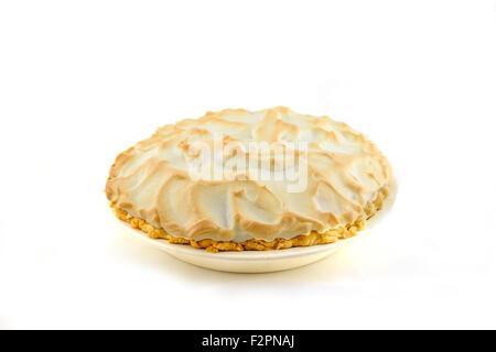 A whole homemade lemon meringue pie isolated on white. USA - Stock Photo
