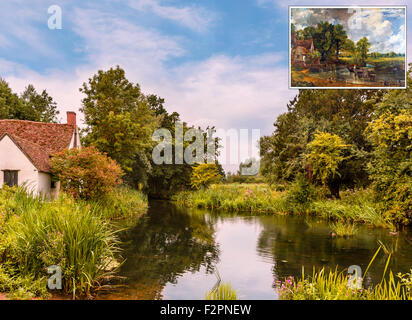 View featured in Constable's painting The Hay Wain (inset), with Willy Lott's Cottage on left, Flatford Mill, Essex, - Stock Photo