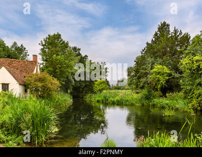 View featured in Constable's painting The Hay Wain, with Willy Lott's Cottage on  left, Flatford Mill, East Bergholt, - Stock Photo