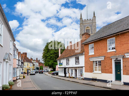 The High Street in Dedham, 'Constable Country', Essex, England, UK - Stock Photo