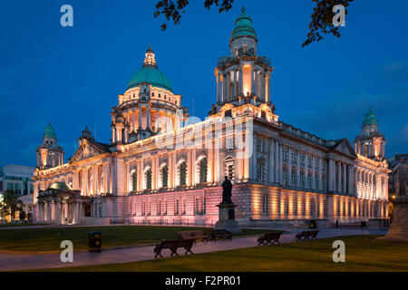 Twilight over Belfast City Hall Building, Belfast, Northern Ireland, UK - Stock Photo