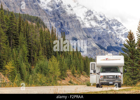 Canadian RV parked along the Icefields Parkway, Banff National Park, in the Canadian Rockies,  Alberta, Canada ,North - Stock Photo