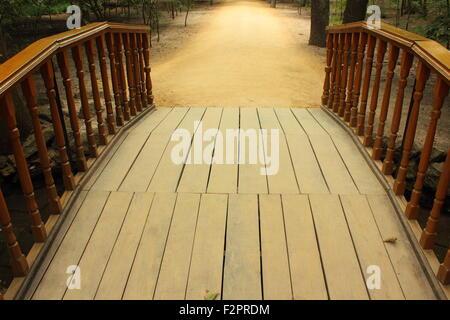 wooden bridge across the lake
