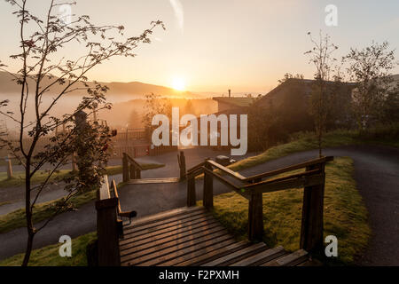 Sunrise over Bwlch Nant Y Arian  Ceredigion Mid Wales UK - Stock Photo