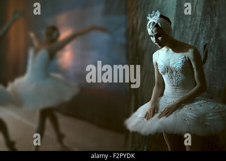 Ballerina standing backstage before going on stage - Stock Photo
