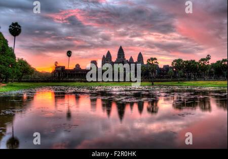 HDR Sunrise over Angkor Wat - Stock Photo