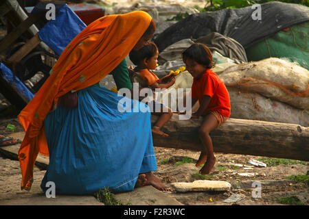 playtime of mother and children - Stock Photo