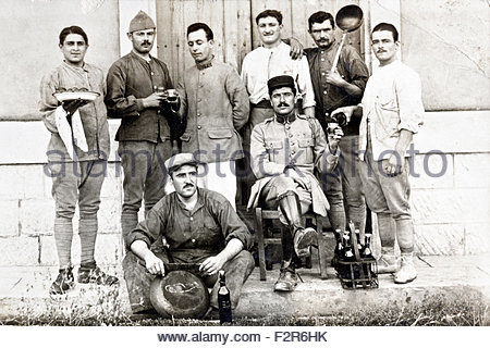 group portrait French soldiers 1910s - Stock Photo