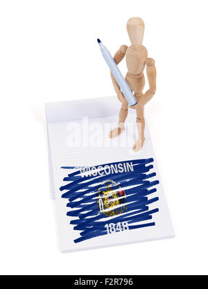 Wooden mannequin made a drawing of a flag - Wisconsin - Stock Photo