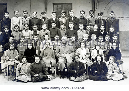 multi cultural elementary school group France year 1954 1955 - Stock Photo