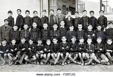 all boys elementary school group France 1939 - Stock Photo