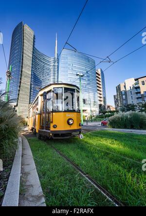 Vintage tram on the Milano street, near Puorta Nuova, Italy - Stock Photo