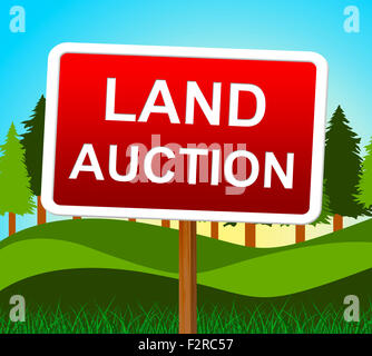 Land Auction Indicating Building Plot And Bidding - Stock Photo