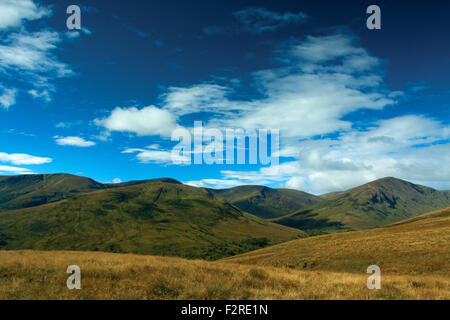 Glen Luss and the Luss Hills from Beinn Dubh, Loch Lomond and the Trossachs National Park - Stock Photo