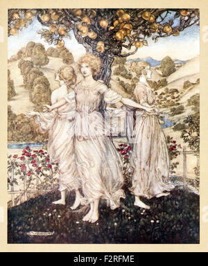 'All amidst the Gardens fair of Hesperus, and his daughters three that sing about the golden tree' from 'Comus' - Stock Photo
