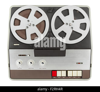 old retro tape recorder isolated on white background - Stock Photo
