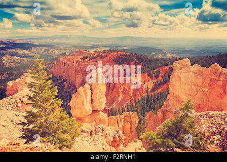Vintage toned rock formations in Bryce Canyon National Park, Utah, USA. - Stock Photo