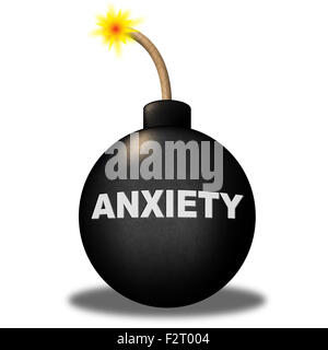 Anxiety Warning Representing Worry Angst And Apprehensiveness - Stock Photo