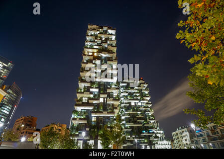 Bosco Verticale ( Vertical Forest) Skyscraper Milan Italy at night - Stock Photo
