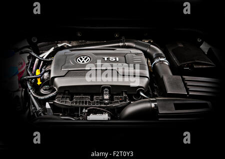 Front of car view of the 2014 Volkswagen Jetta 1.8 liter turbo.  Versions of this engine are used in the Passat - Stock Photo