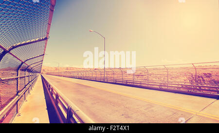 Retro vintage stylized picture of a highway, old film style, USA. - Stock Photo
