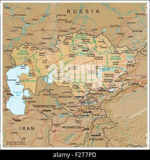 Kazakhstan physiography map - Stock Photo