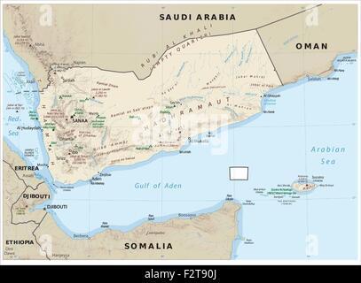Yemen physiography map - Stock Photo