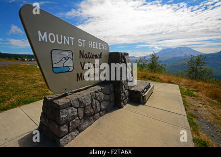 Mount St Helens  National Volcanic Monument sign Stock Photo