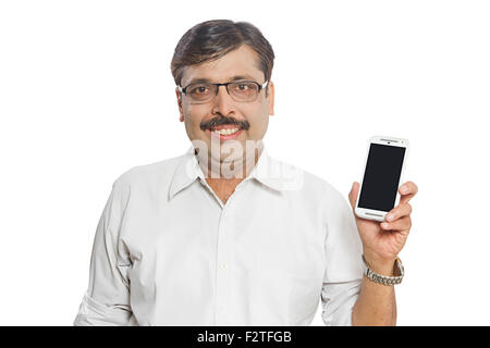 1 indian Adult Man Mobile Phone Showing Quality - Stock Photo