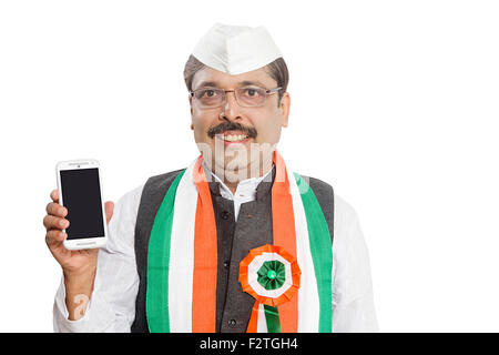 1 indian Adult Man Politician Mobile Phone Showing Quality - Stock Photo