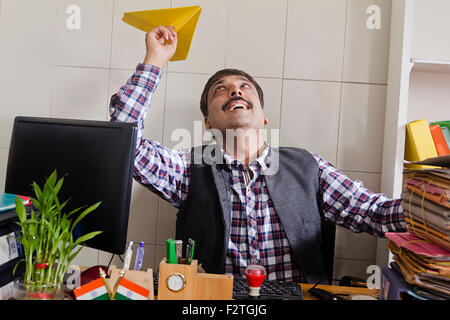 1 indian Man Government Employee office  working - Stock Photo