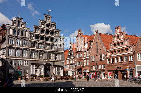 Gabled houses, Platz Am Sande, square in the historic centre, Hanseatic city of Lüneburg, Lower Saxony, Germany - Stock Photo