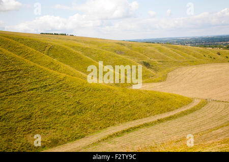 Steep chalk scarp slope and the Vale of the White Horse looking west from near Uffington castle,  Oxfordshire, England, - Stock Photo