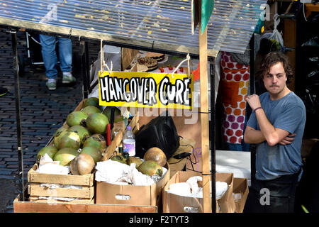 London, England, UK. Camden Market - stall selling a 'Hangover Cure' - Stock Photo