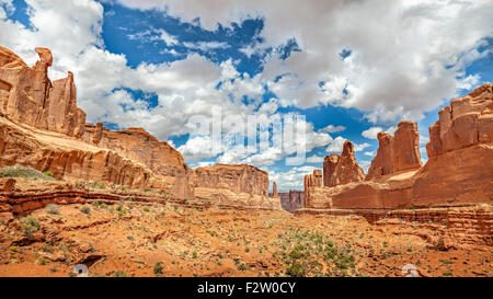 Panoramic view of rock formations in Arches National Park, Utah, USA. - Stock Photo