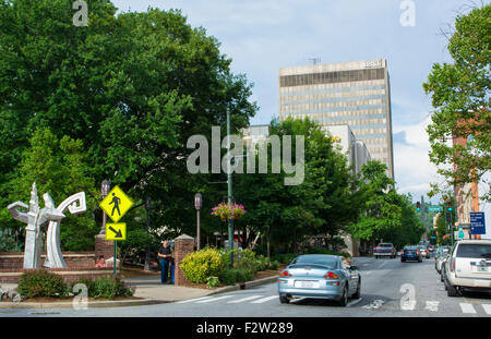Asheville North Carolina traffic on Patton Avenue downtown at Pritchard Park - Stock Photo